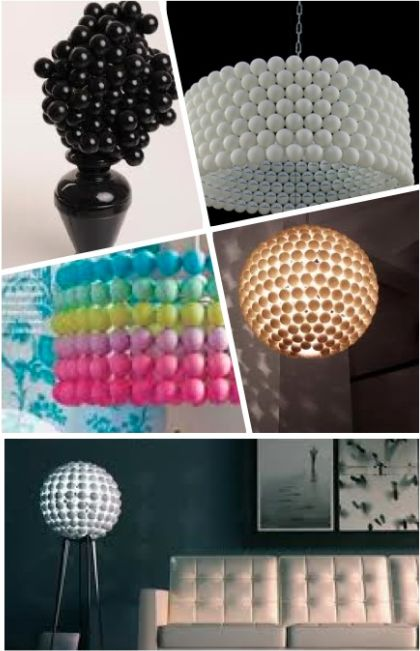 David Bromstead making lamp shade out of ping pong balls.