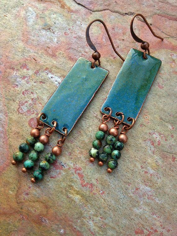 Blue Enameled Earrings / Boho Chic Earrings / by Lammergeier, $32.00