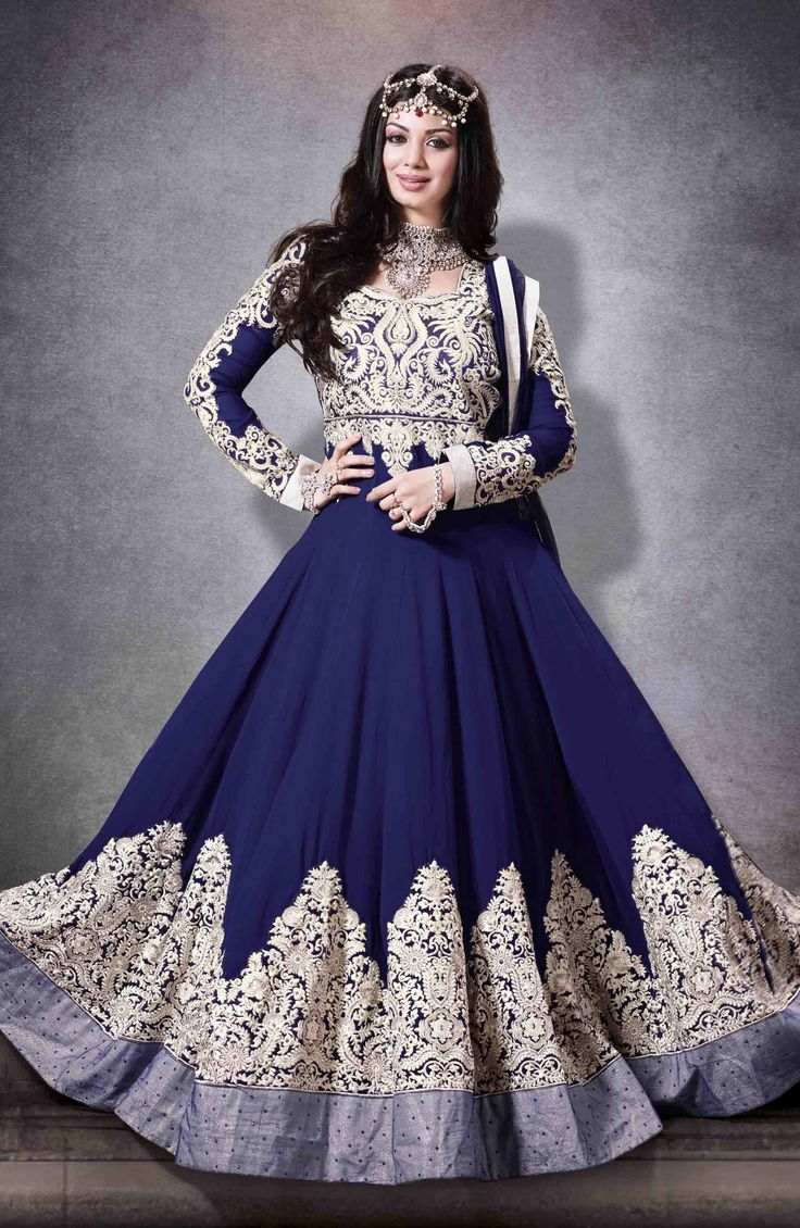 Cast tender enchantment dressed in this Blue shade georgette floor-length semi-stitched anarkali suit with zari resham work, big butas on ghera hemline patches.