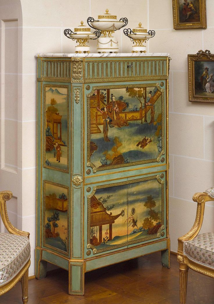 panels in polychrome French oil painting with