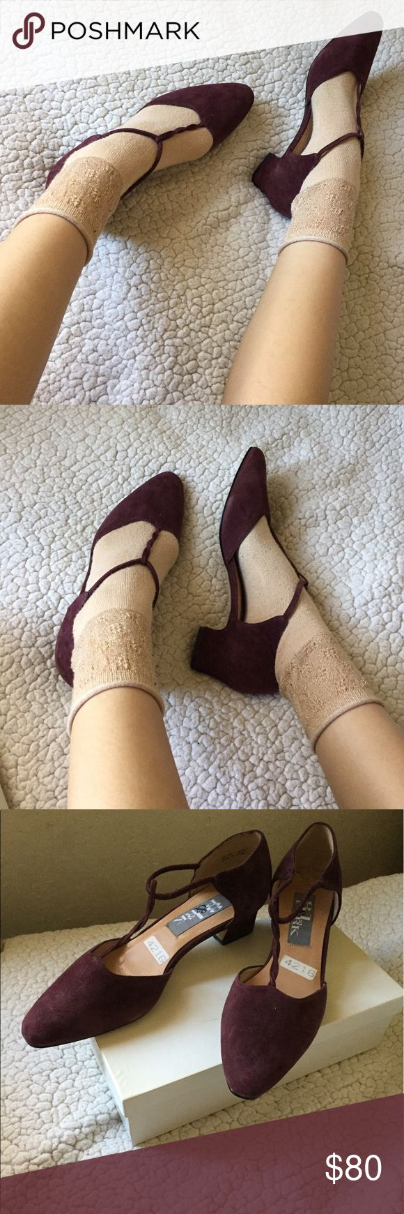 • nwt vtg burgundy heels • adorable burgundy maroon colored heels with delicate twisted ties. creates an innocent marry Jane look. rounded pointy toe cap and a whisper of a heel. truly stunning.   vintage, new in box. from the 90s. no flaws or defects.   •no trades please •ask questions! •smoke free/cat and dog friendly home Vintage Shoes Heels
