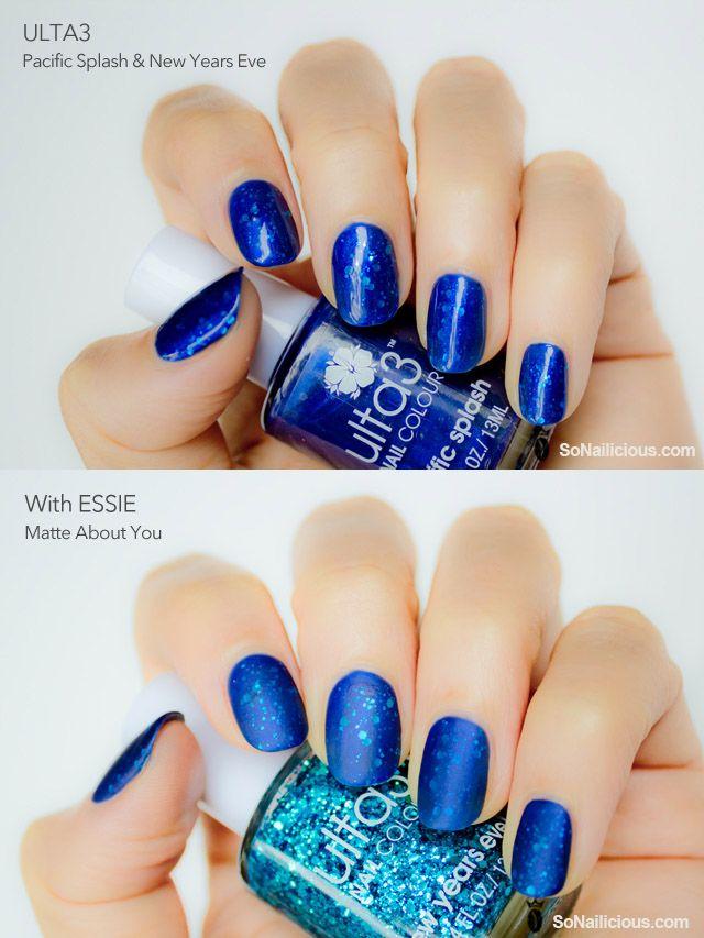 Blue nails - comparison matte top coat V high shine top coat over blue jelly sandwich nails