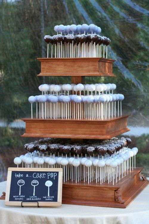 25 Cheap And Cool Wedding Cake Alternatives | Weddingomania @Angela Gray Gray Gray Codner This would be different! cake pops!