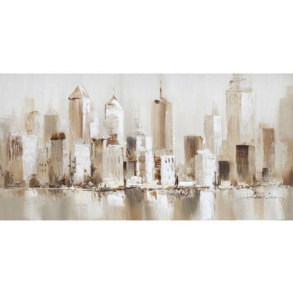 Moderne tableau peint à la main d'une ville dans les teintes de beiges 55x27,6''