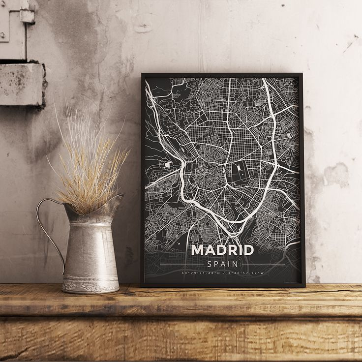 Premium Map Poster of Madrid Spain - Modern Contrast - Unframed - Madrid Map Art