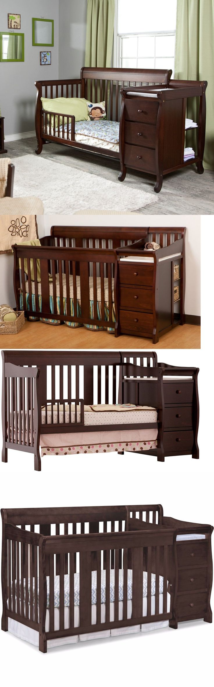 Baby Nursery: 4 In 1 Side Convertible Crib Changer Nursery Furniture Baby Toddler Bed Espresso -> BUY IT NOW ONLY: $377.97 on eBay!