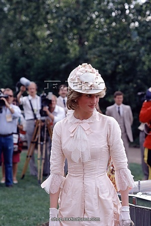 June 29, 1983: Diana Princess of Wales dressed up in Edwardian fashion for a Klondike evening barbeque at Ford Edmonton in Edmonton, Canada during the Royal Tour of Canada.