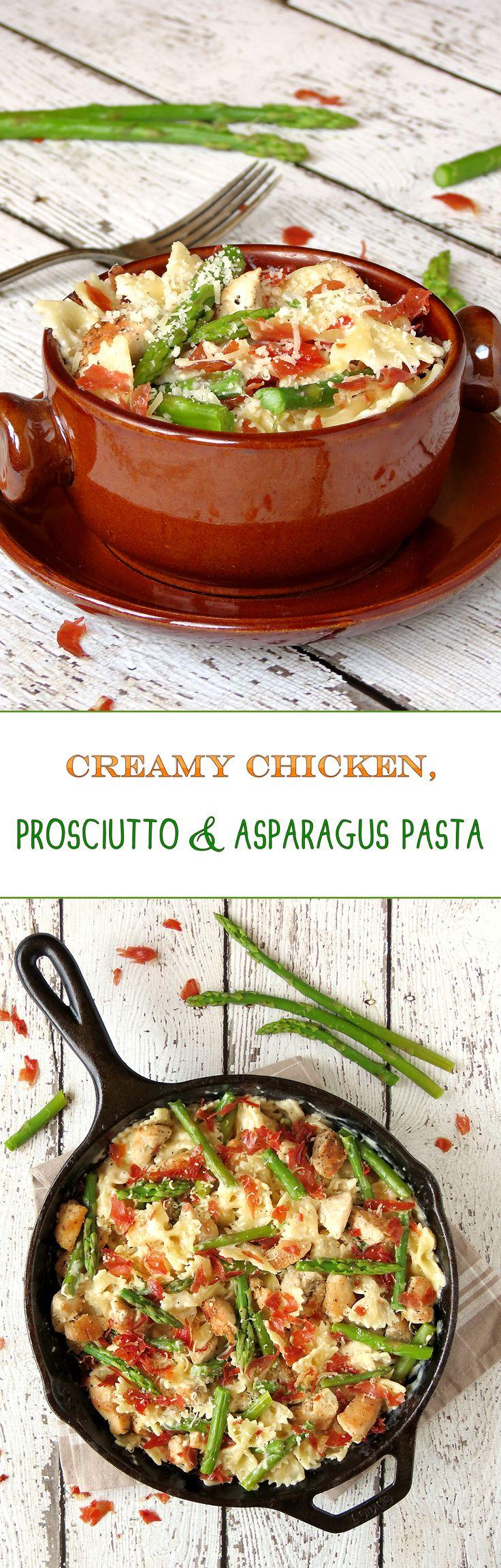 Creamy Chicken, Prosciutto And Asparagus Pasta | yummyaddiction.com | #pasta #chicken #asparagus