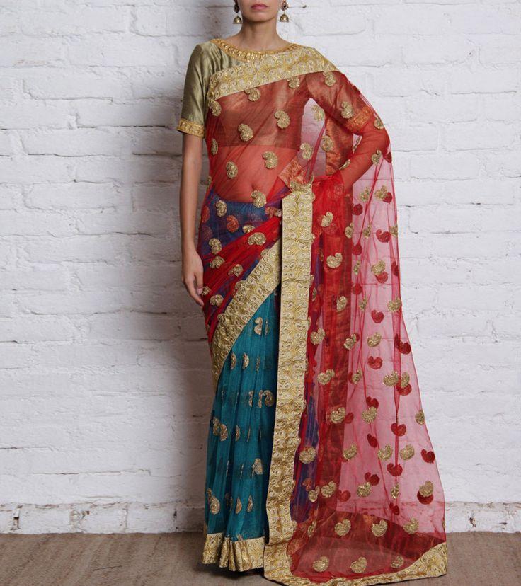 Blue & Red Net Saree