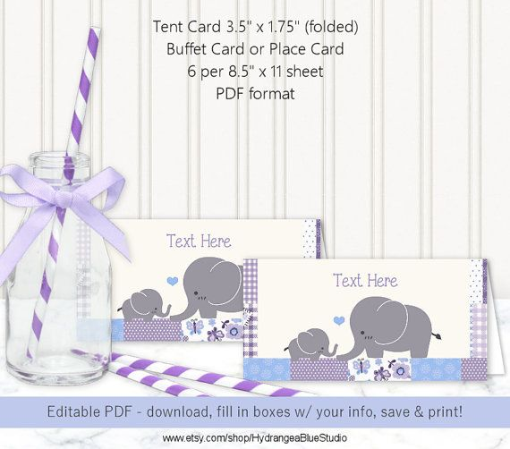 Card Place Card Tent Card Editable Template urple u0026 Blue Elephant Baby ...