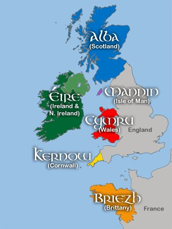Six Celtic nations based on their use of living Celtic languages: Scotland, Ireland, Isle of Man, Wales, Cornwall (England), and Brittany (France).