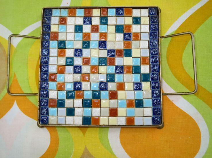 Vtg 1960s Mid Century Mosaic Ceramic Tile Retro Trivet Hot