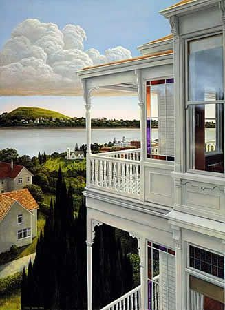 Peter Siddell - «Balcony» (1984) (Acrylic on board - 650 mm x 450 mm).jpg