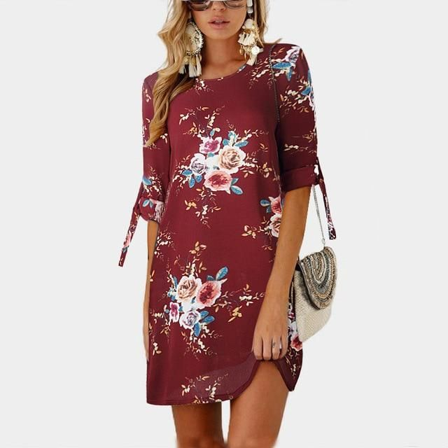 Floral Print Chiffon Tunic Sundress Brand Name: AOWOFS Gender: Women Material: C… – wedding