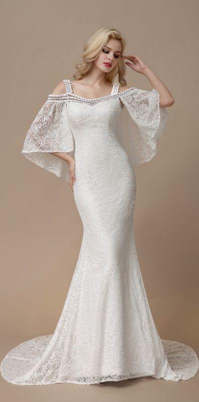 4fed73ecbfdd Cold shoulder batwing sleeve mermaid wedding dresses #bohowedding  #bohoweddingdresses #weddingdresses #weddingdress #