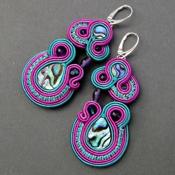 Earrings soutache Maori  Shell Abalone and