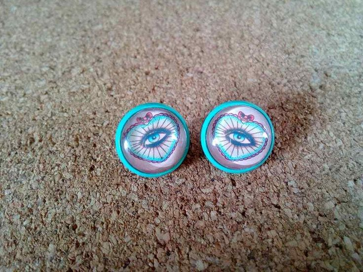 Details about Earrings 12mm Gothic Mystic Eye Heart Tattoo old school Ladies Cabochon