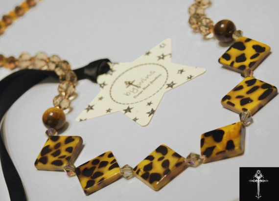 Handmade Beaded Necklace strand with tiger eyes & by BYTWINS, €95.00