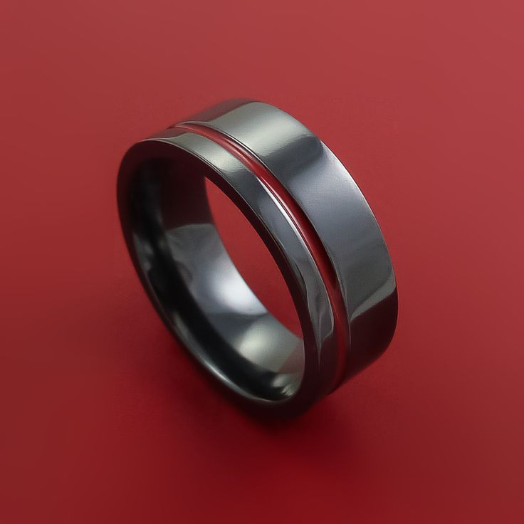Black Zirconium Ring Traditional Style Band with Red Center Inlay Made to Any Sizing and Finish