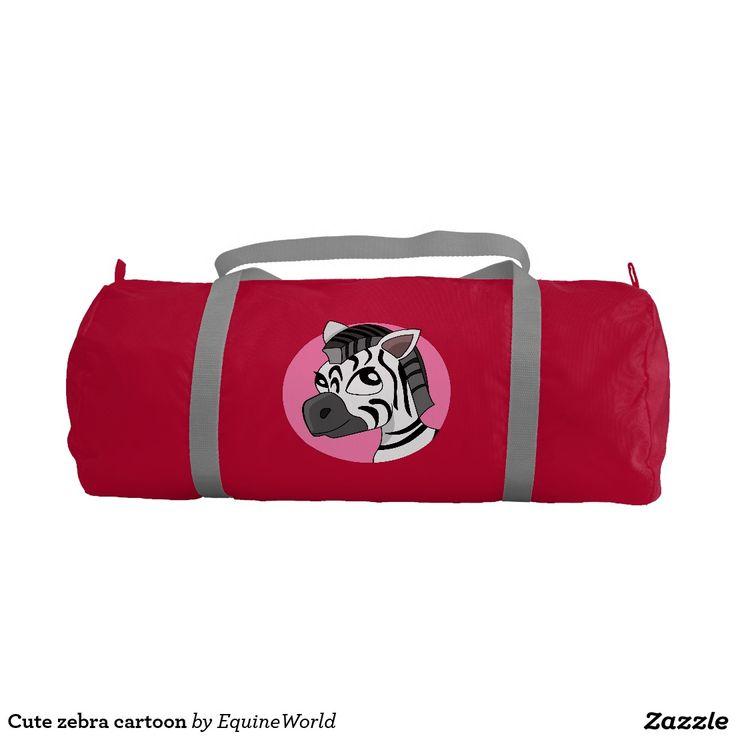 Cute zebra cartoon gym duffel bag