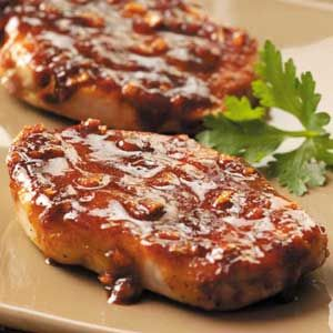 WIN - Sweet and Spicy Pork Chops.  Add some water to hydrate the spice mixture.  Delectable. - 182 calories
