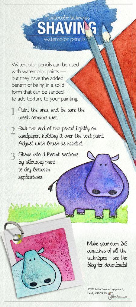 @sandyallnock teaches a great watercoloring tip involving watercolor pencils. Pinnable Reference Guide + You Tube video tutorial. #EllenHutsonLLC #EssentialsbyEllen