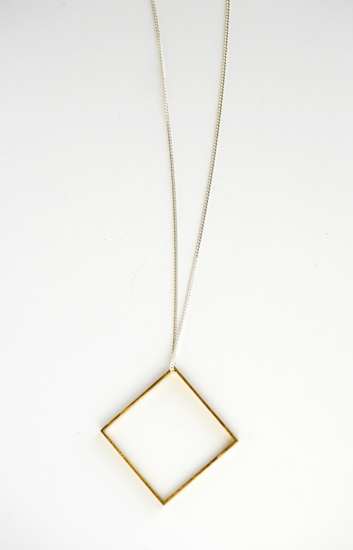 Brass square  silver sterling chain by Nallik.