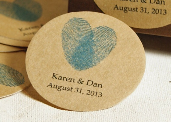 Round Wedding Favor Labels - Kraft Paper Favor Stickers - Custom Labels - Gift Labels - Personalized Stickers, Fingerprint Heart on Etsy, $12.15 AUD