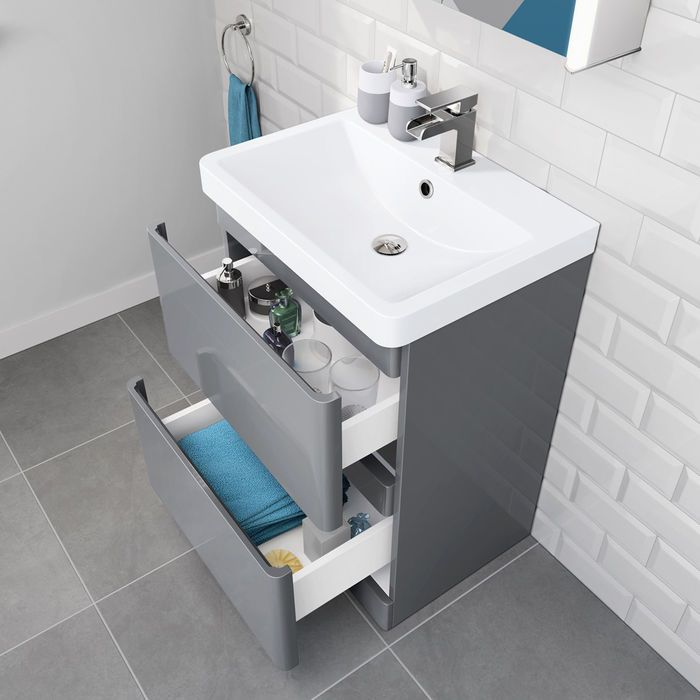 600mm Denver Ii Gloss Grey Built In Basin Drawer Unit Floor