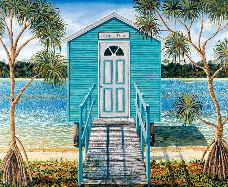 Cotton Tree Maroochy; Painting on stretched canvas. 101 x 84cm sarina.net  Painted after a holiday to Maloolaba. Queensland.