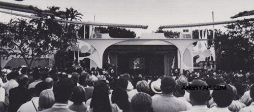 """This rare photo shows hundreds of Disneyland guests watching the Apollo 11 moon landing on the Tomorrowland stage ( where Space Mountain now resides )  """""""