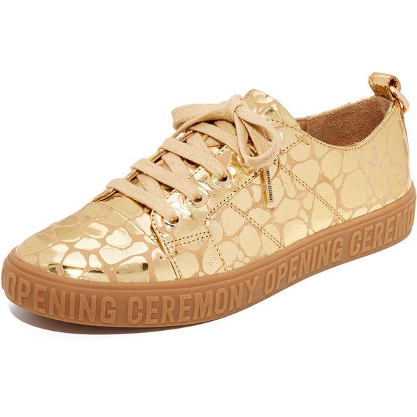 Opening Ceremony Mina Logo Sneakers (317 AUD) ❤ liked on Polyvore featuring shoes, sneakers, gold, genuine leather shoes, opening ceremony shoes, print sneakers, metallic shoes and lacing sneakers