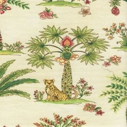 Cheetah Jungle Cotton Animal Print Drapery Fabric by Waverly