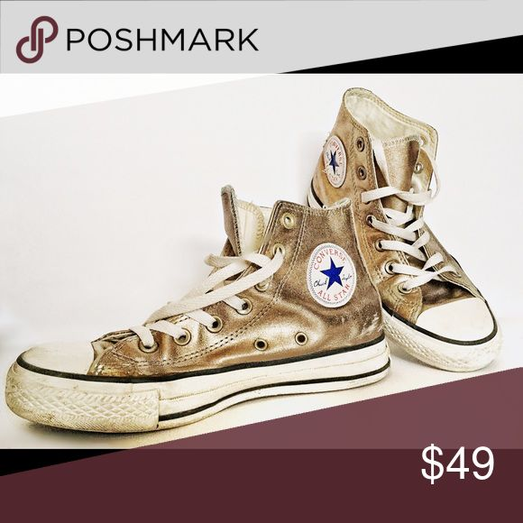 Converse High Top Gold Leather All Star womens 6.5 Classic high top Chucks by Converse All Star in size 6.5 women's (or 4.5 men's). In good, used condition with wear. No holes or other flaws noted. Converse Shoes Sneakers
