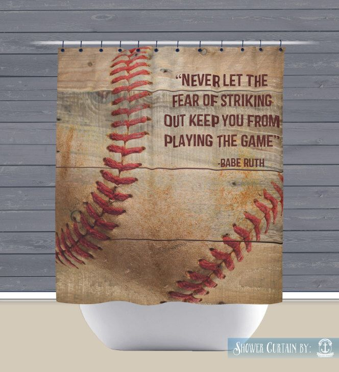 Baseball Shower Curtain: Babe Ruth Quote Sports Theme | Made In The USA | 12