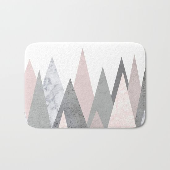 The perfect bath mats: fuzzy, foamy and finely enhanced with brilliant art. With a soft, quick-dry microfiber surface, memory foam cushion and skid-proof backing, our shower mats are a cut above your typical rug..marble, blush, pink, rose, gray, gold, copper, geometry, geometric, triangles, Scandinavian, minimal, mid century , design, trend, white, fresh, modern, society6, art print, tapestry, window curtains, home decor, interior design, home style, wall art