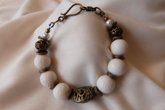 White coral and antique bronze filigree by AlluringBracelets