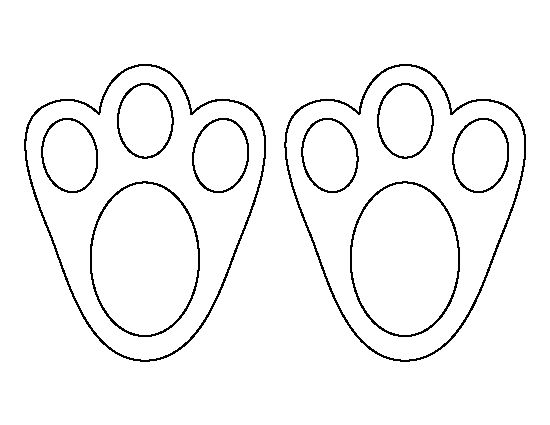 footprint cut out template - easter bunny paw print pattern use the printable outline