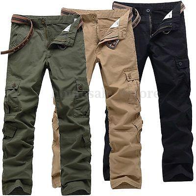 New Mens Casual Cargo Pants Military Army Pants Camo Combat Work Trousers Slacks