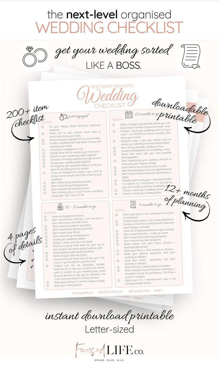 Detailed Wedding Checklist Printable   Wedding To Do List   Wedding Checklist Timeline   Wedding ...