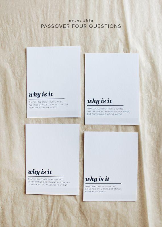 印刷可能な過越4質問|  ほぼ完璧になります
