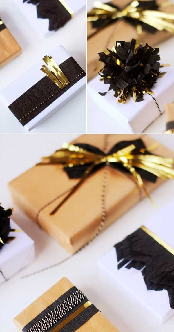 DIY gold accented holiday gift wrap