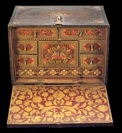 Chest of drawers, front cover down showing the chest of mini drawers inside, 18th century