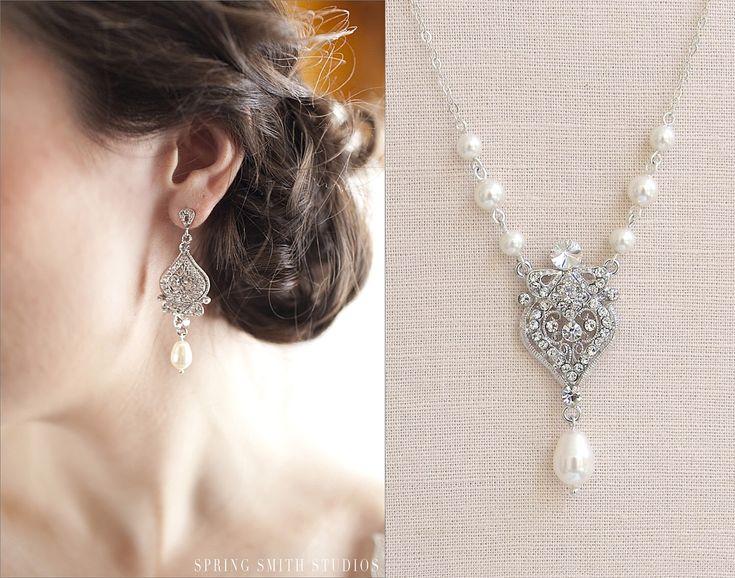Bridal Jewelry SET, Pearl Wedding Necklace Bridal earrings Swarovski Crystal rhinestone Swarovski Pearl,  Wedding jewelry, Alexandra SET by CrystalAvenues on Etsy https://www.etsy.com/listing/154355844/bridal-jewelry-set-pearl-wedding