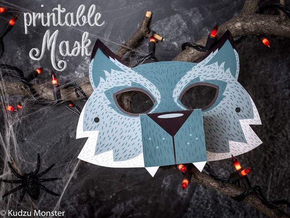 Printable Halloween Werewolf Mask for kids DIY door KudzuMonster