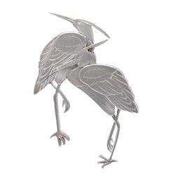 WIWEN NILSSON, brosch, sterling silver, tranor, signerad, Lund 1956, 5,4 x 4 cm, vikt 24 g,