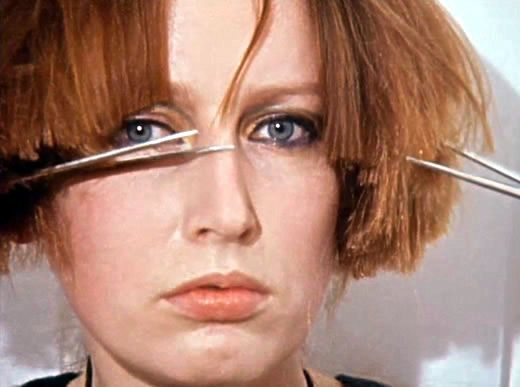 Rebecca Horn | Berlin Exercise, 1974 [16 Novembre: Cutting one's hair with two pairs of scissors simultaneously]