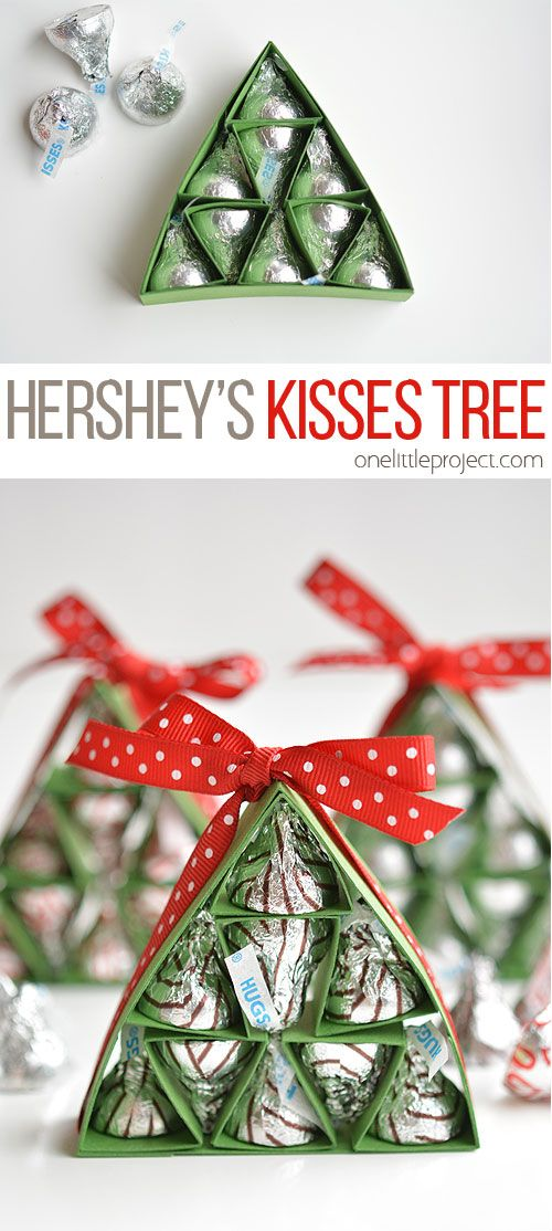 These Hershey's Kisses Christmas Trees are SO ADORABLE and they're really easy to make! They're a great alternative to a box of chocolates, and way cuter!