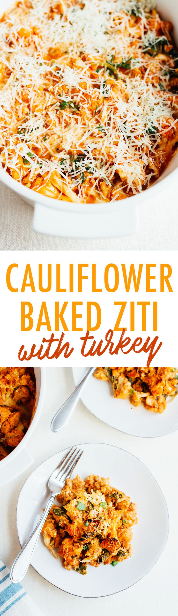 This turkey cauliflower baked ziti uses cooked cauliflower instead of pasta noodles so it's low-carb and gluten-free while still being cheesy and delicious. Recipe is from Megan Gilmore's cookbook, No Excuses Detox.