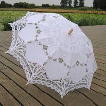 New Vintage Lace Umbrella Handmade Cotton Embroidery White Battenburg Lace Parasol Umbrella Wedding Decorations Free Shipping